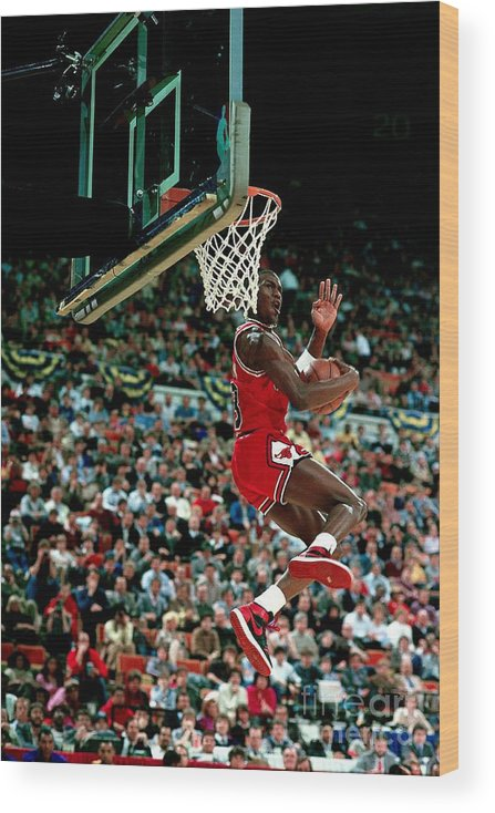 Chicago Bulls Wood Print featuring the photograph Michael Jordan Competes In The Nba All by Andrew D. Bernstein