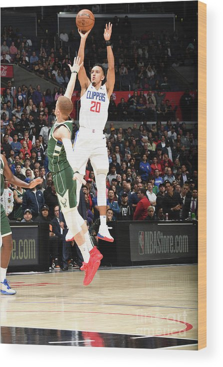 Nba Pro Basketball Wood Print featuring the photograph Milwaukee Bucks V La Clippers by Andrew D. Bernstein