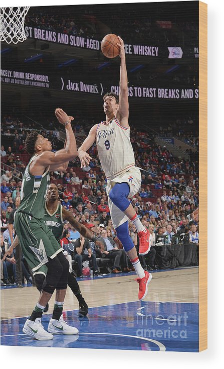 Sports Ball Wood Print featuring the photograph Milwaukee Bucks V Philadelphia 76ers by David Dow