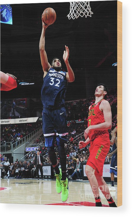 Atlanta Wood Print featuring the photograph Minnesota Timberwolves V Atlanta Hawks by Scott Cunningham