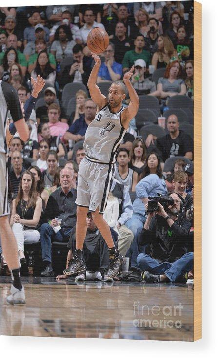 Nba Pro Basketball Wood Print featuring the photograph Minnesota Timberwolves V San Antonio by Mark Sobhani
