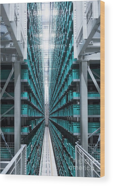 Corporate Business Wood Print featuring the photograph Modern Automatized High Rack Warehouse by Westend61
