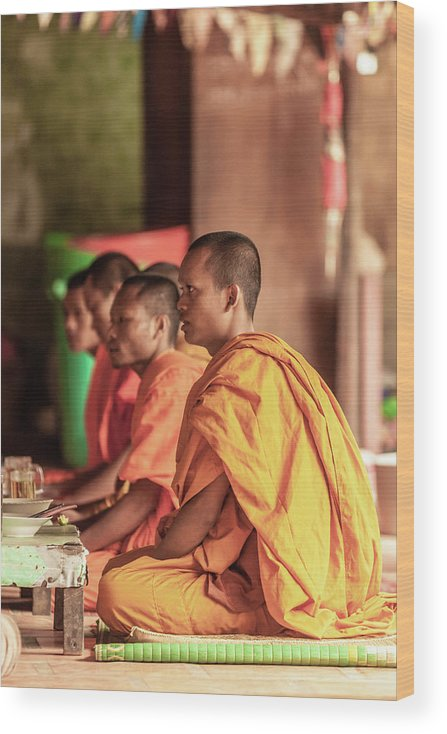 Young Men Wood Print featuring the photograph Monks At Breakfast, Wat Monastery by Cultura Rm Exclusive/gary Latham