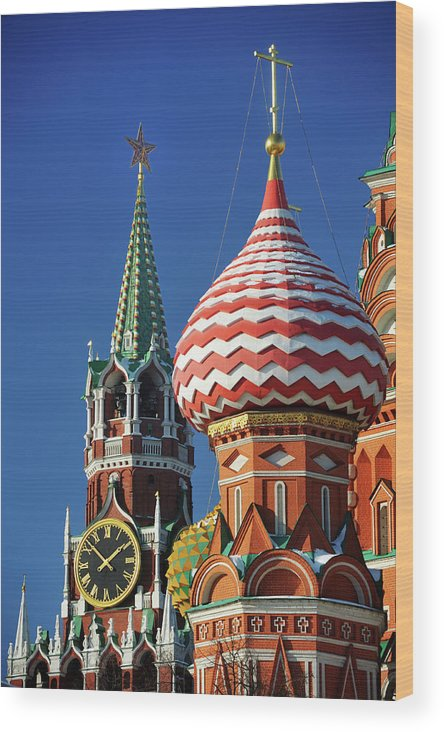 Built Structure Wood Print featuring the photograph Moscow, Spasskaya Tower And St. Basil by Vladimir Zakharov
