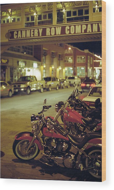 California Wood Print featuring the photograph Motor Bikes And Cars Parking At Cannery by Peter Von Felbert / Look-foto