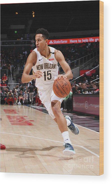 Atlanta Wood Print featuring the photograph New Orleans Pelicans V Atlanta Hawks by Jasear Thompson