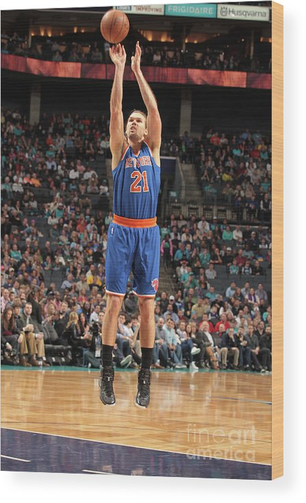 Nba Pro Basketball Wood Print featuring the photograph New York Knicks V Charlotte Hornets by Brock Williams-smith