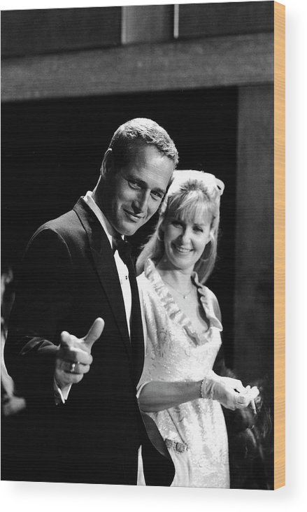 Event Wood Print featuring the photograph Newman & Woodward Attend Formal Event by Mark Kauffman