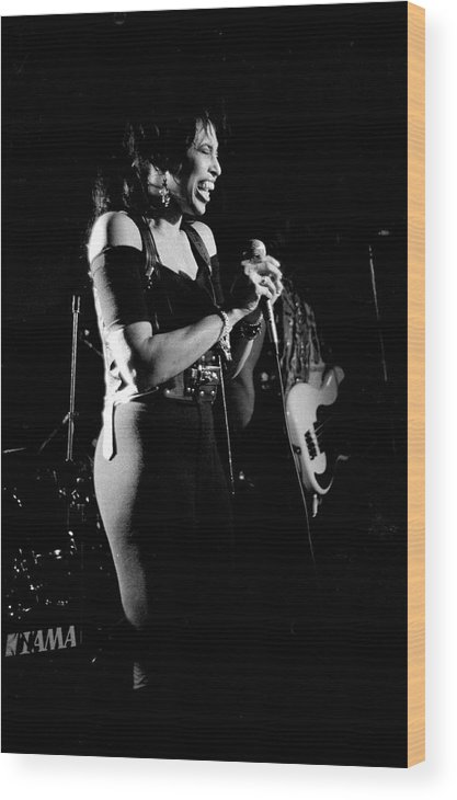 Singer Wood Print featuring the photograph Nona Hendryx 1989 by Martyn Goodacre