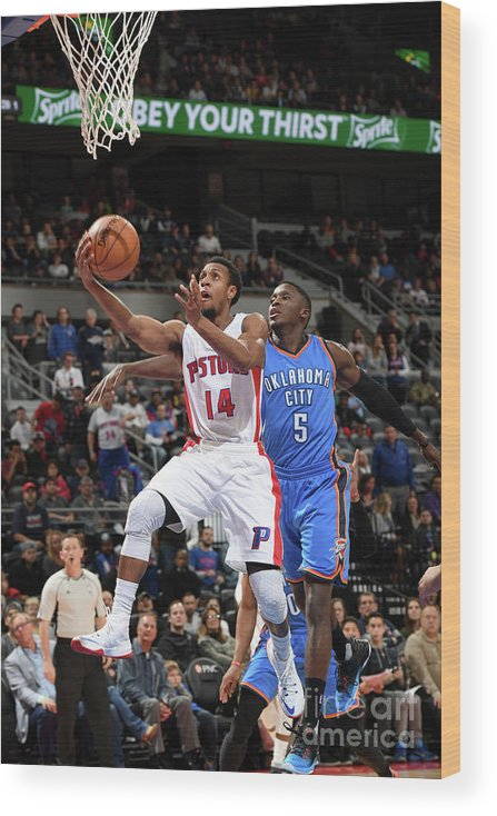 Nba Pro Basketball Wood Print featuring the photograph Oklahoma City Thunder V Detroit Pistons by Chris Schwegler