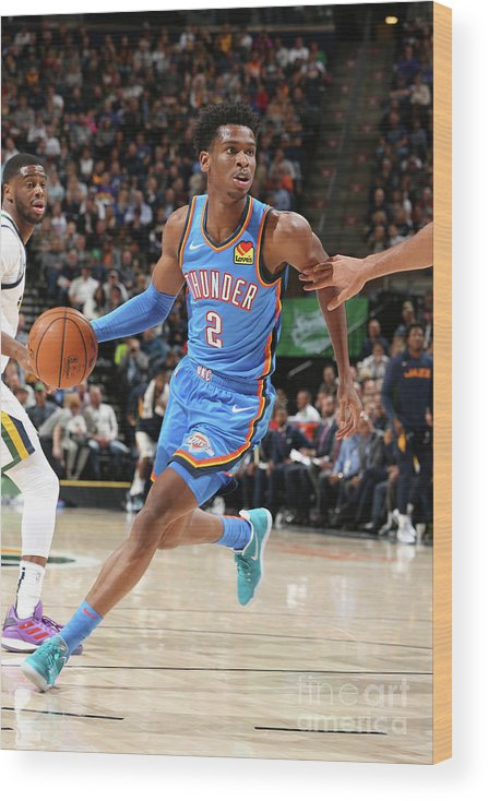 Nba Pro Basketball Wood Print featuring the photograph Oklahoma City Thunder V Utah Jazz by David Sherman