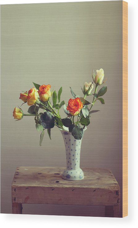 Orange Color Wood Print featuring the photograph Orange Roses In Vintage Vase by Copyright Anna Nemoy(xaomena)
