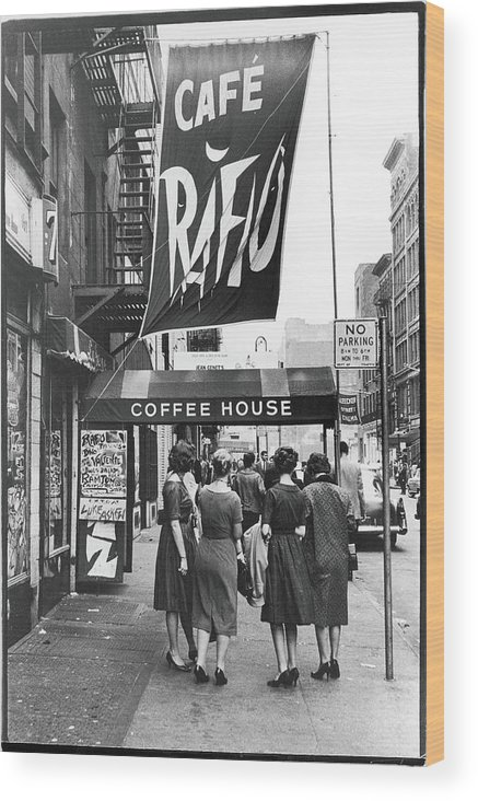 Pedestrian Wood Print featuring the photograph Outside The Cafe Rafio by Fred W. McDarrah