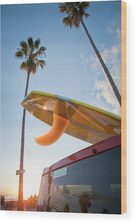 California Wood Print featuring the photograph Paddleboard On Top Of Car With Palm by Stephen Simpson