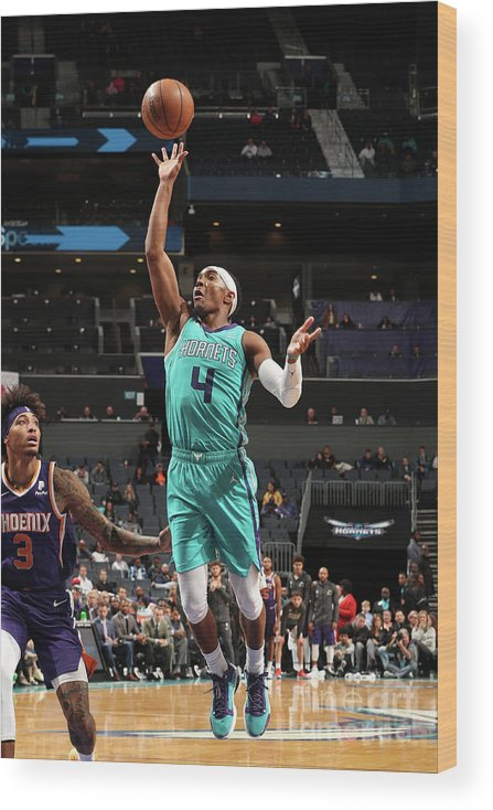 Nba Pro Basketball Wood Print featuring the photograph Phoenix Suns V Charlotte Hornets by Kent Smith