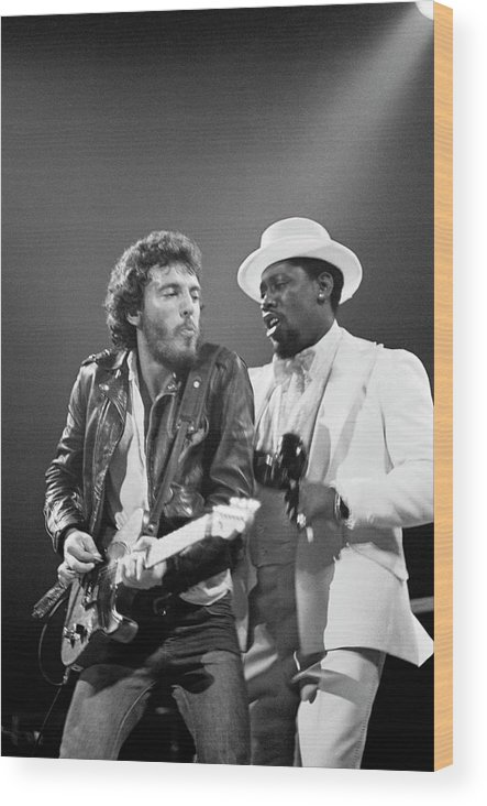 Music Wood Print featuring the photograph Photo Of Bruce Springsteen And Clarence by Fin Costello