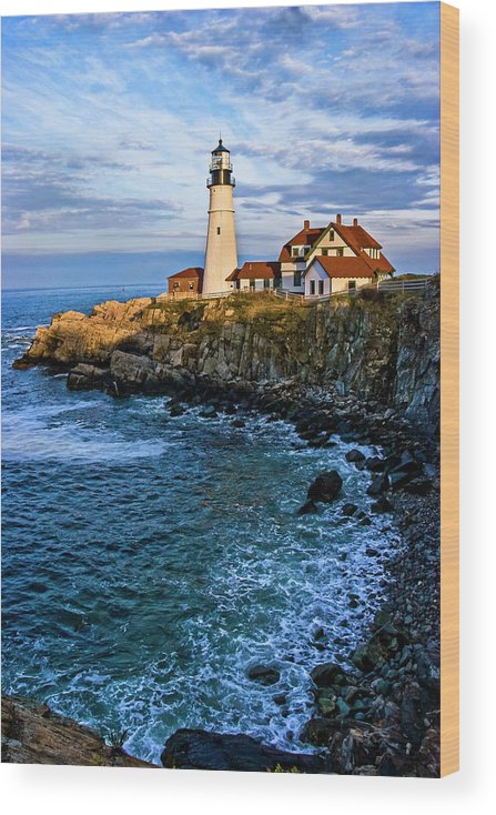 Built Structure Wood Print featuring the photograph Portland Head Light by C. Fredrickson Photography