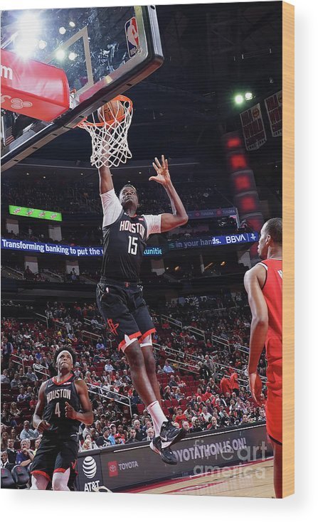 Nba Pro Basketball Wood Print featuring the photograph Portland Trail Blazers V Houston Rockets by Cato Cataldo