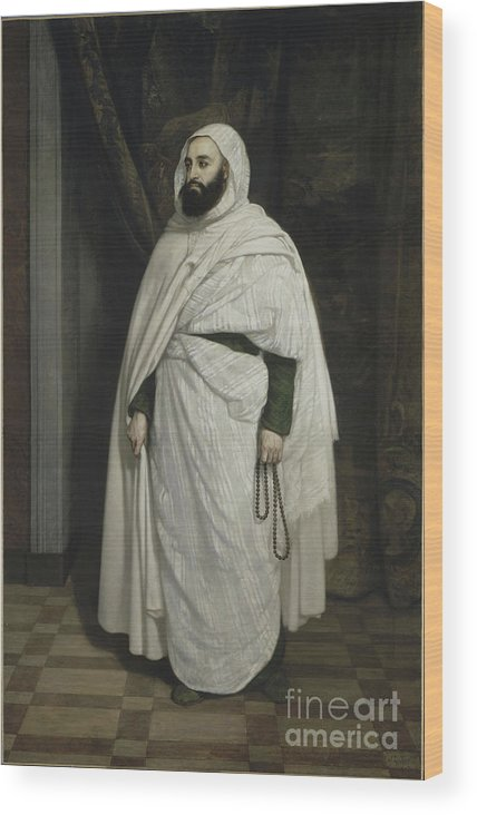 Oil Painting Wood Print featuring the drawing Portrait Of Abdelkader Ibn Muhieddine by Heritage Images