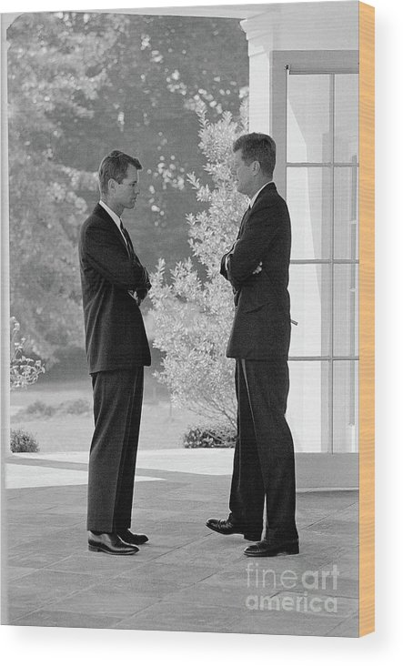 Mature Adult Wood Print featuring the photograph President Kennedy Confers With Brother by Bettmann