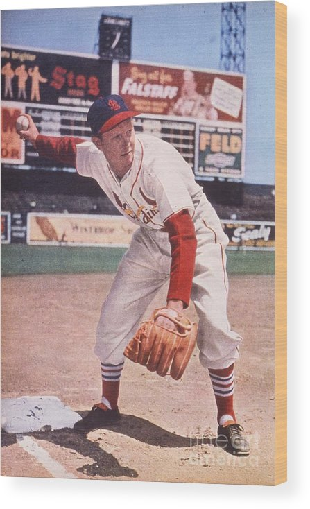 St. Louis Cardinals Wood Print featuring the photograph Red Schoendienst At Third by Transcendental Graphics