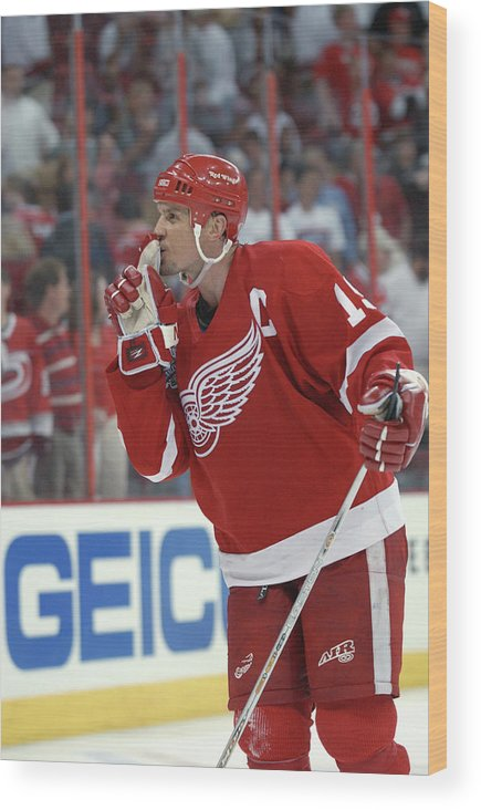 Playoffs Wood Print featuring the photograph Red Wings V Hurricanes by Dave Sandford