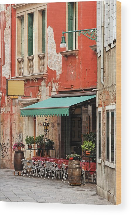 Empty Wood Print featuring the photograph Restaurant In Venice by Mammuth