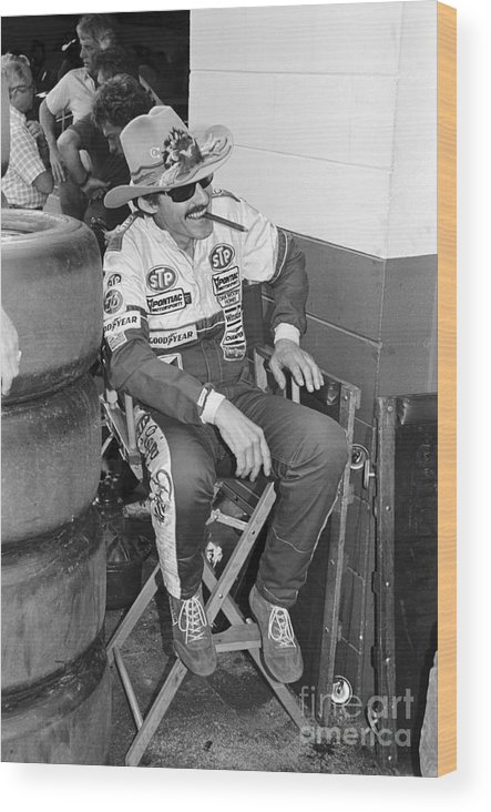 1980-1989 Wood Print featuring the photograph Richard Petty Sitting In Directors Chair by Bettmann