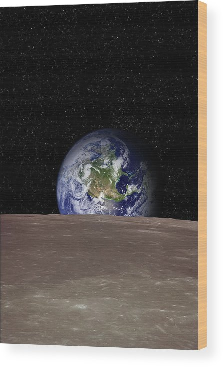 Landscape Wood Print featuring the photograph Rising Earth Over Moon Surface by Photovideostock