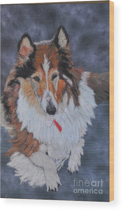 Rough Collie Wood Print featuring the tapestry - textile rough Collie by Dolores Fegan