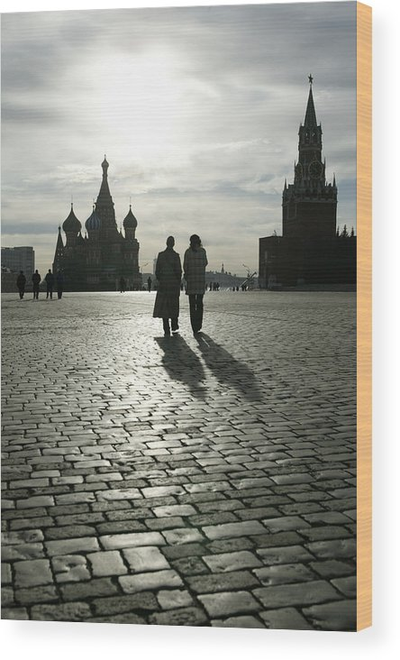 Shadow Wood Print featuring the photograph Russia, Moscow, Red Square, Silhouette by Will & Deni Mcintyre