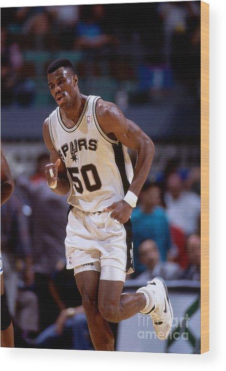 Nba Pro Basketball Wood Print featuring the photograph San Antonio Spurs David Robinson by Andy Hayt