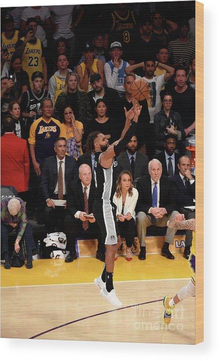 Nba Pro Basketball Wood Print featuring the photograph San Antonio Spurs V Los Angeles Lakers by Adam Pantozzi
