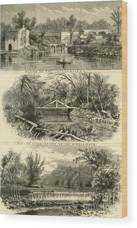 Engraving Wood Print featuring the drawing Scenes On The Wissahickon by Print Collector