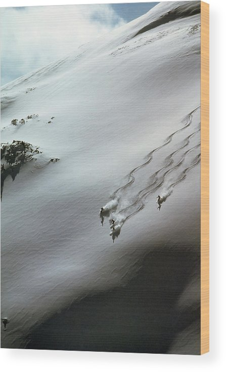 Shadow Wood Print featuring the photograph Skier Moving Down In Snow On Slope by John P Kelly