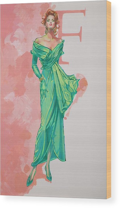 Fashion Illustration Wood Print featuring the painting Spring Fling by Barbara Tyler Ahlfield