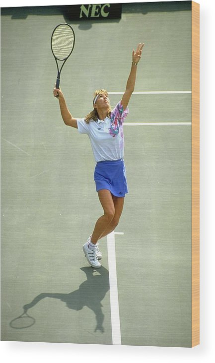 Tennis Wood Print featuring the photograph Steffi Graf by Howard Boylan
