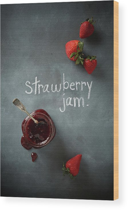 Spoon Wood Print featuring the photograph Strawberry Jam by Lew Robertson