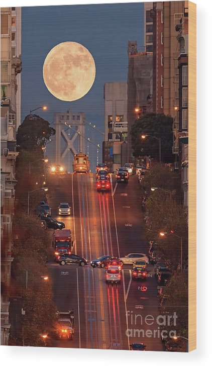 Supermoon Wood Print featuring the photograph Supermoon At California Street by Spondylolithesis