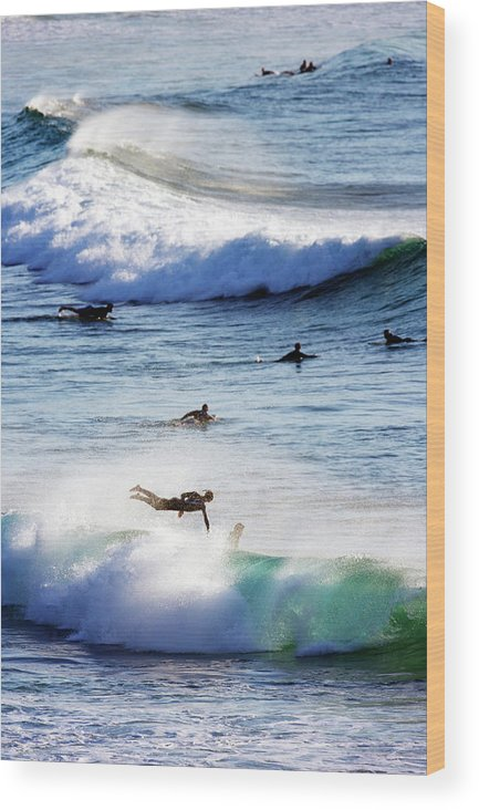 Spray Wood Print featuring the photograph Surfing At Southern End Of Bondi Beach by Oliver Strewe