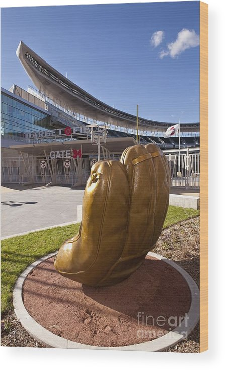 American League Baseball Wood Print featuring the photograph Target Field Previews by Wayne Kryduba