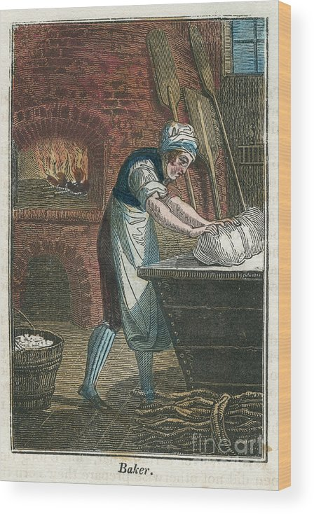 Working Wood Print featuring the drawing The Baker Kneading Dough On The Lid by Print Collector