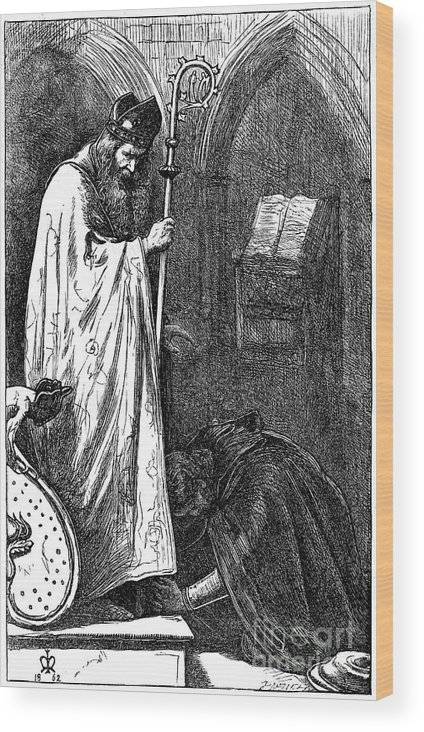 Pre-raphaelite Wood Print featuring the drawing The Bishop And The Knight, 1862. Artist by Print Collector