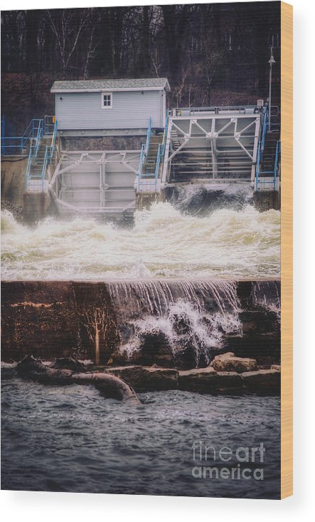 Appleton Wood Print featuring the photograph Turmoil at the Upper Appleton Dam by Ever-Curious Photography