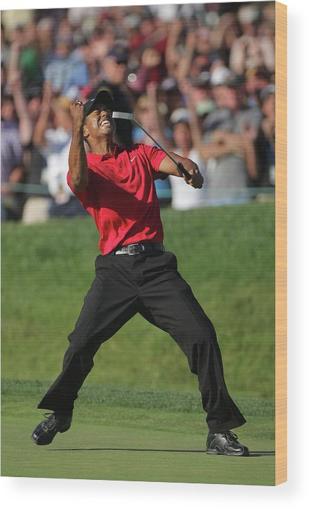 Tiger Woods Wood Print featuring the photograph U.s. Open Championship - Final Round by Doug Pensinger