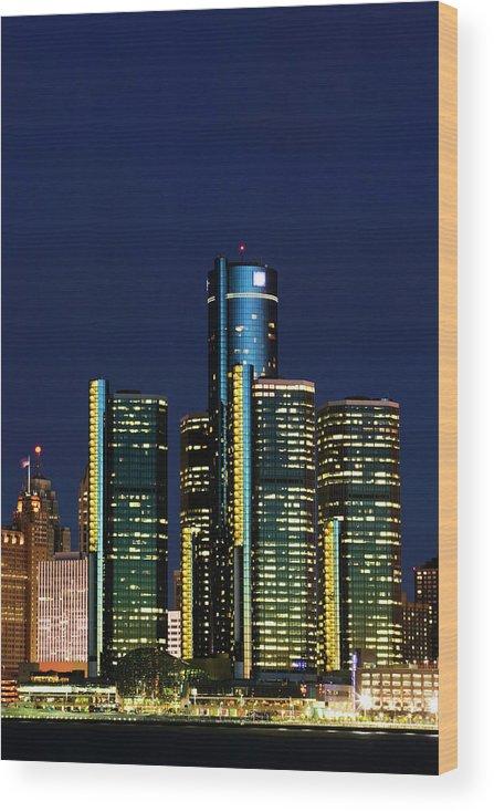 Detroit Wood Print featuring the photograph Usa, Michigan, Detroit, Skyline & by Walter Bibikow