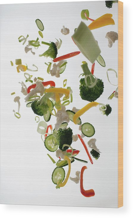 Broccoli Wood Print featuring the photograph Vegetables Against A White Background by Dual Dual