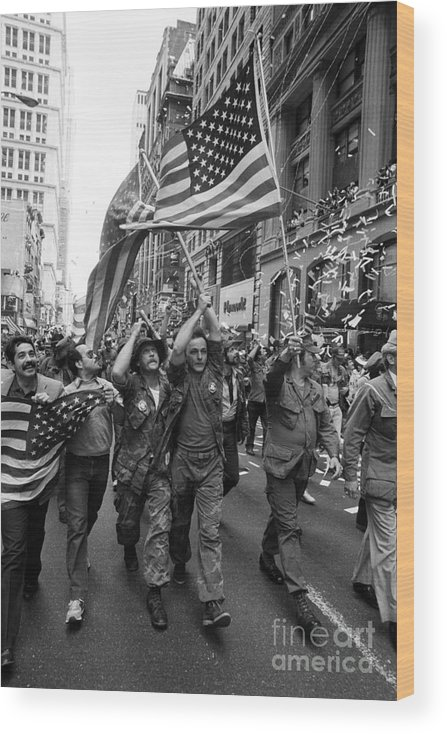 Marching Wood Print featuring the photograph Vietnam Veterans Parade On Broadway by Bettmann