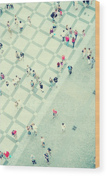 Pedestrian Wood Print featuring the photograph Walking People by Carlo A