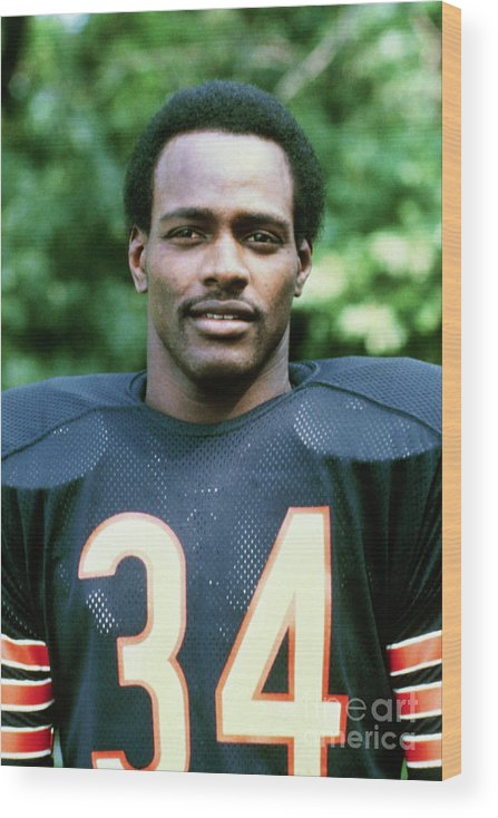American Football Uniform Wood Print featuring the photograph Walter Payton Of The Chicago Bears by Bettmann